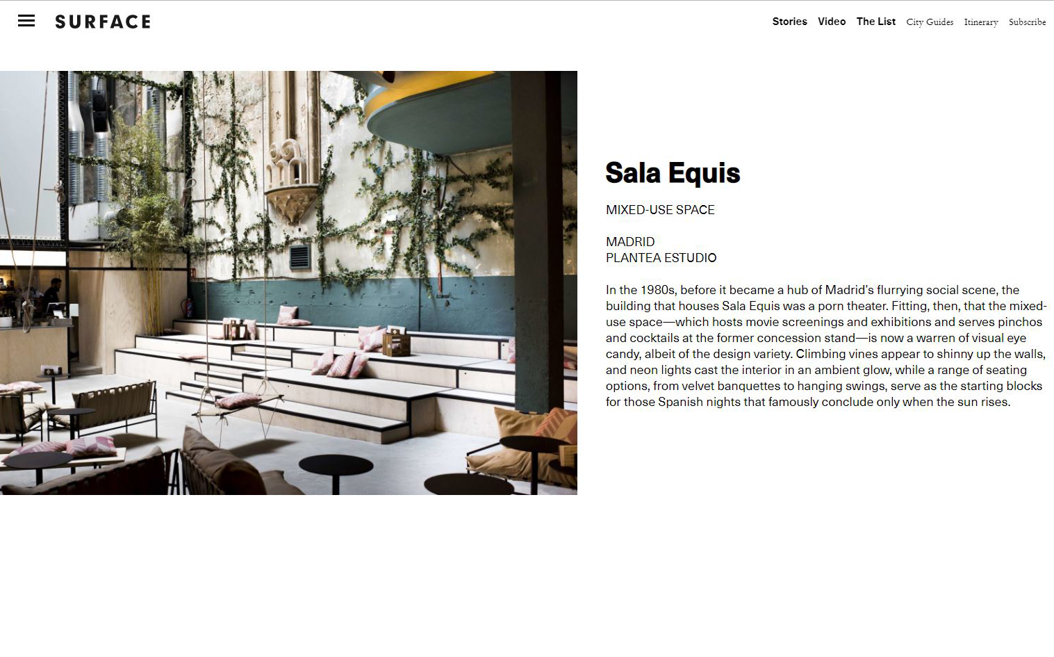 Plantea Estudio galardonado por la revista Surface Mag con el premio Surface Travel Awards